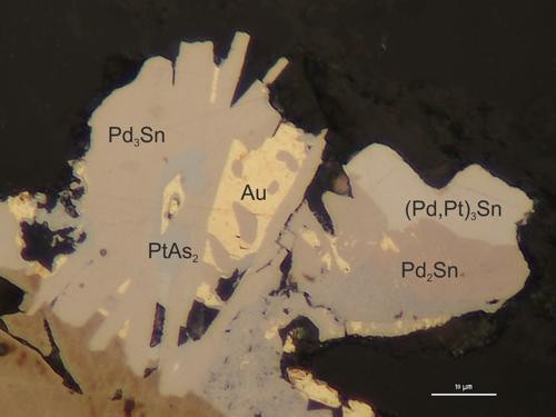 Zlato (Au) a minerály skupiny Pt kovů v rudách Cu-Ni ložiska Norilsk, Ruská federace