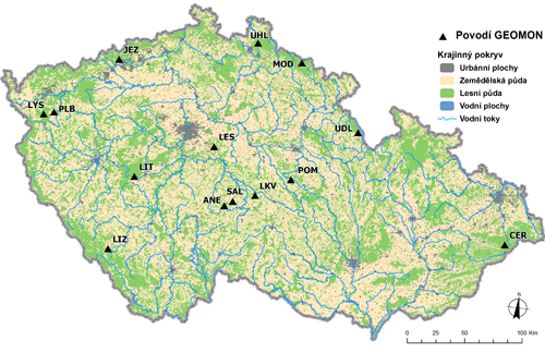 Lokalizace sítě malých lesních povodí GEOMON monitorovaných od roku 1994