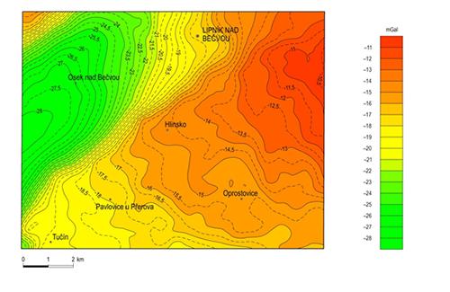 Mapa úplných Bouguerových anomálií na mapovém listu 25-132 Lipník nad Bečvou s označením jednotlivých anomálií