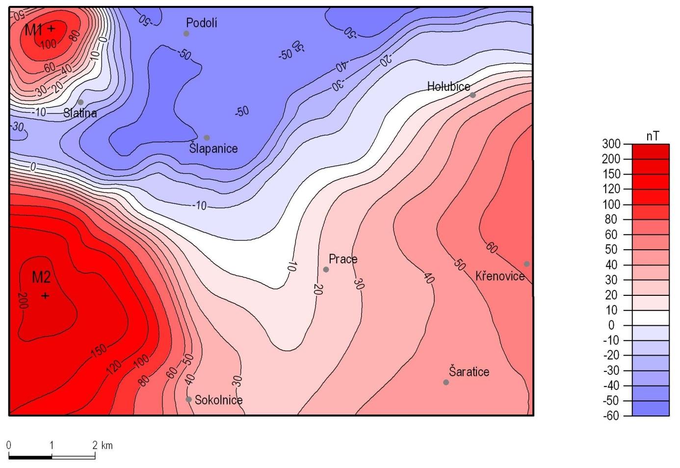 Mapa anomálií geomagnetického pole DT v jižní části karpatské předhlubně (mapový list 24-431 Šlapanice).