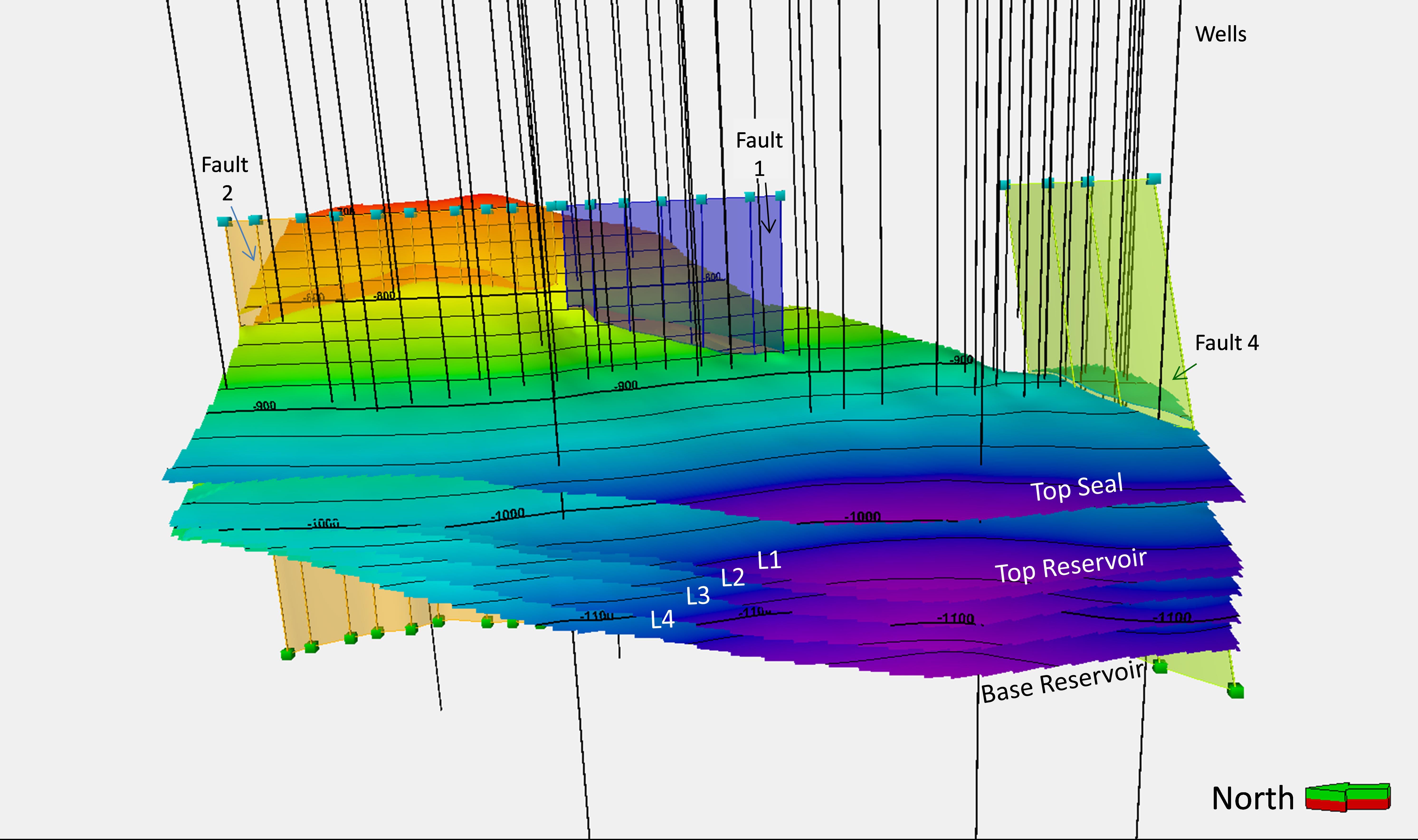 Geologický 3D model struktury LBr-1