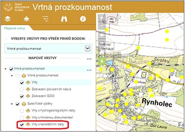 Vrty s karotáží v mapové aplikaci