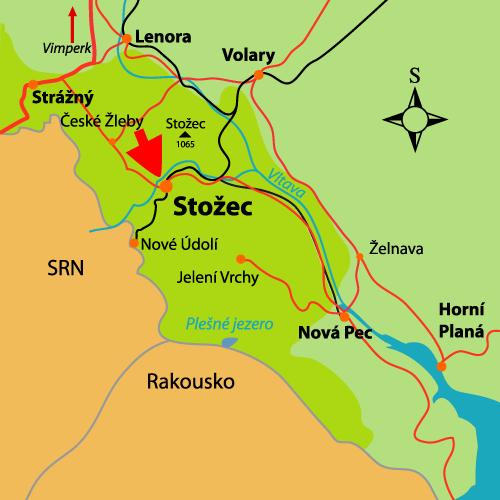 Schematická mapka obce Stožec na Šumavě s vyznačením polohy expozice.