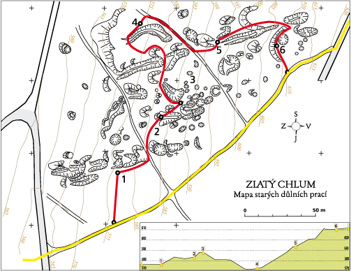 Mapka naučné stezky Zlatý Chlum