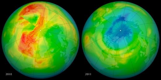 Ozonová díra nad Arktidou v roce 2011
