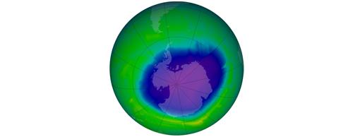 Ozonová díra nad Antarktidou v roce 2010