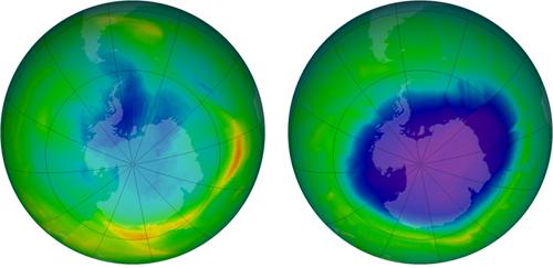 Ozonová díra nad Antarktidou v roce 1979 a 2010
