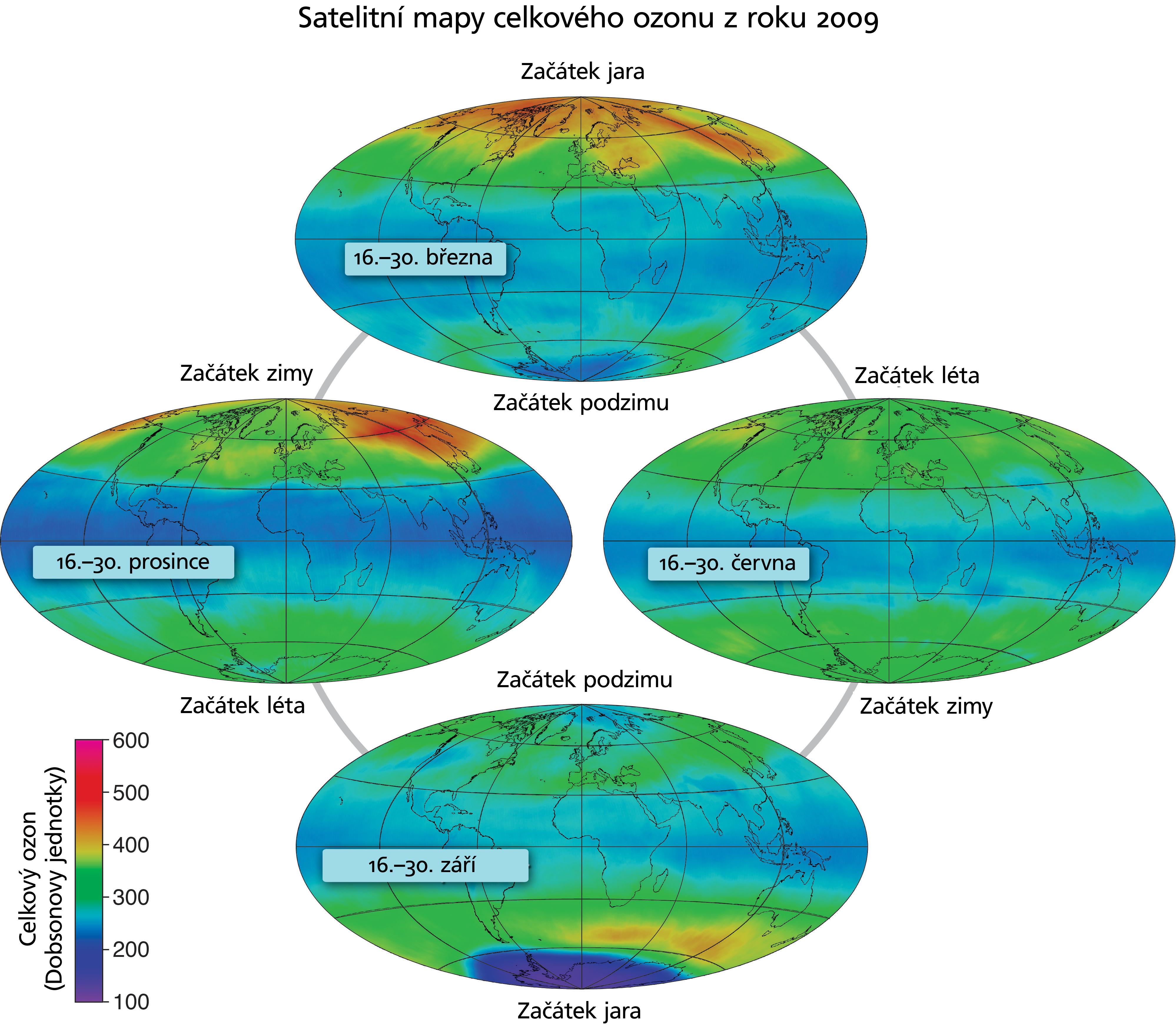 Rozložení množství ozonu na světě v roce 2009