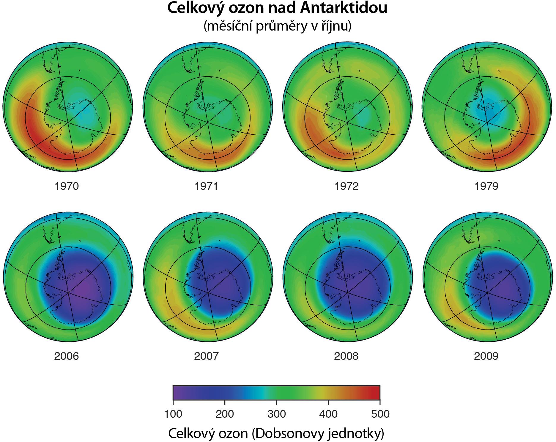 Ozonová díra nad Antarktidou v průběhu let