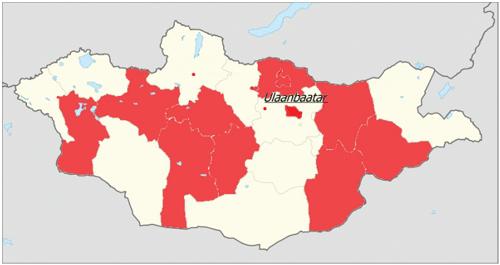 Distribuce probíhajících projektů Rozvojové spolupráce  České republiky v Mongolsku podle ajmaků (krajů)