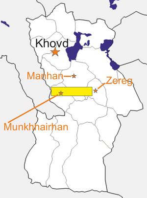 Umístění studovaného území v rámci ajmaku Chovd a jednotlivých somonech