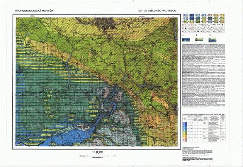 Ukázka hydrogeologické mapy v měřítku 1 : 50 000, list Jablonec nad Nisou