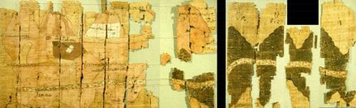 Nejstarší geologická mapa je z r. 1160 př. n. l. a zachycuje část pouště se sídly, lomy a doly na těžbu zlata. Je uložena v muzeu v italském Turínu.